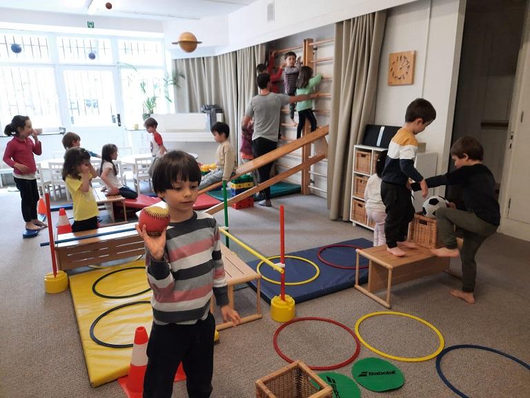 Children taking their gym class.